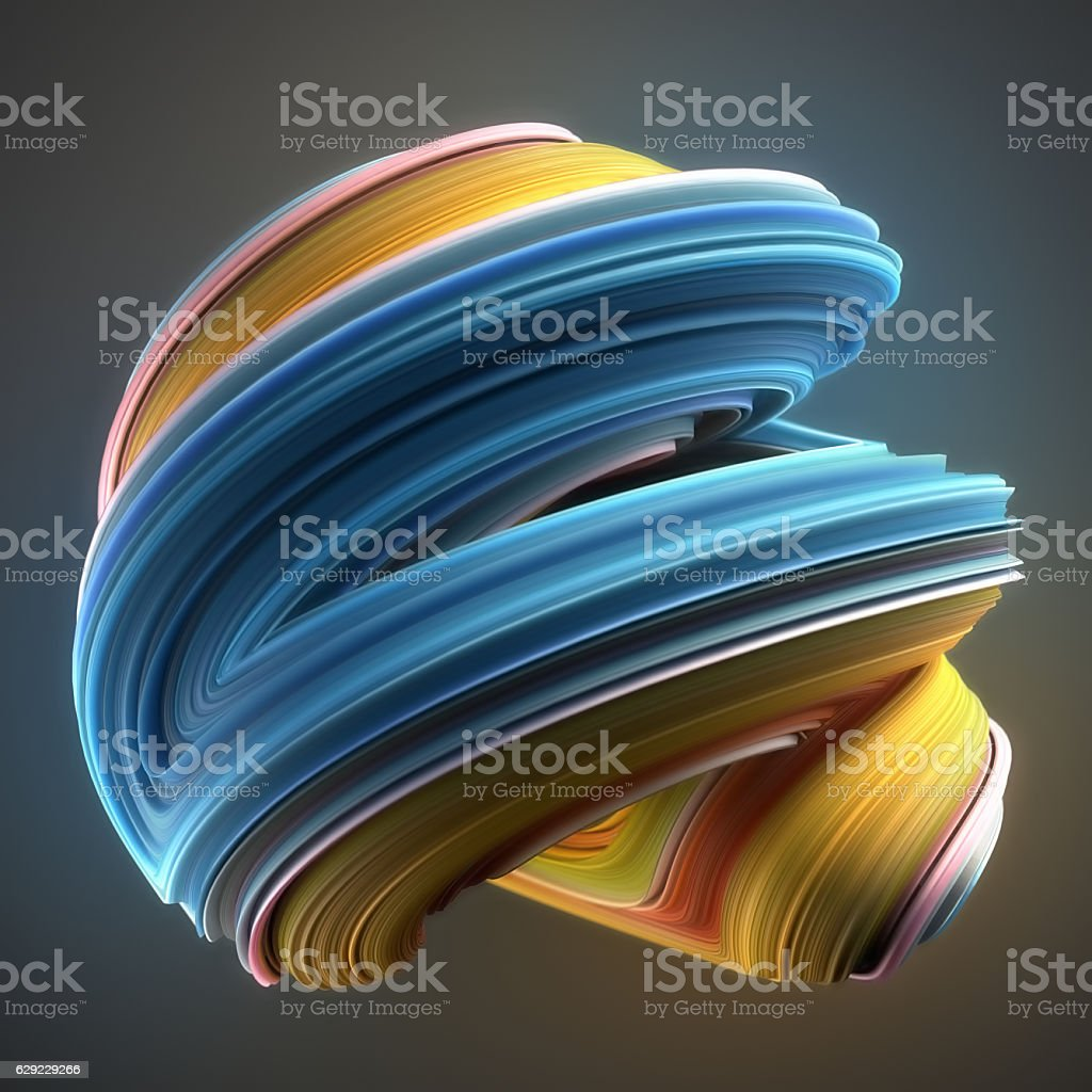 Blue and yellow colored twisted shape. Computer generated abstract geometric stock photo