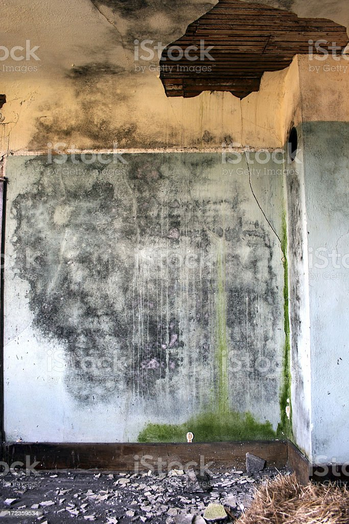 Blue and yellow crumbling water damaged plaster walls royalty-free stock photo