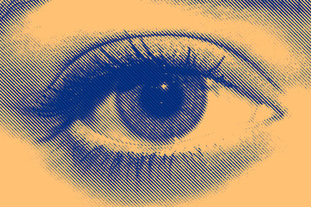 Blue and yellow halftone eye of a beautiful girl stock photo