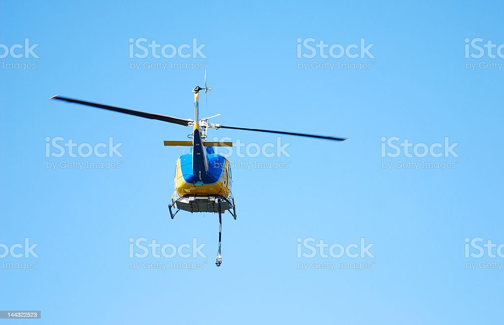 Blue and Yellow Helicopter royalty-free stock photo