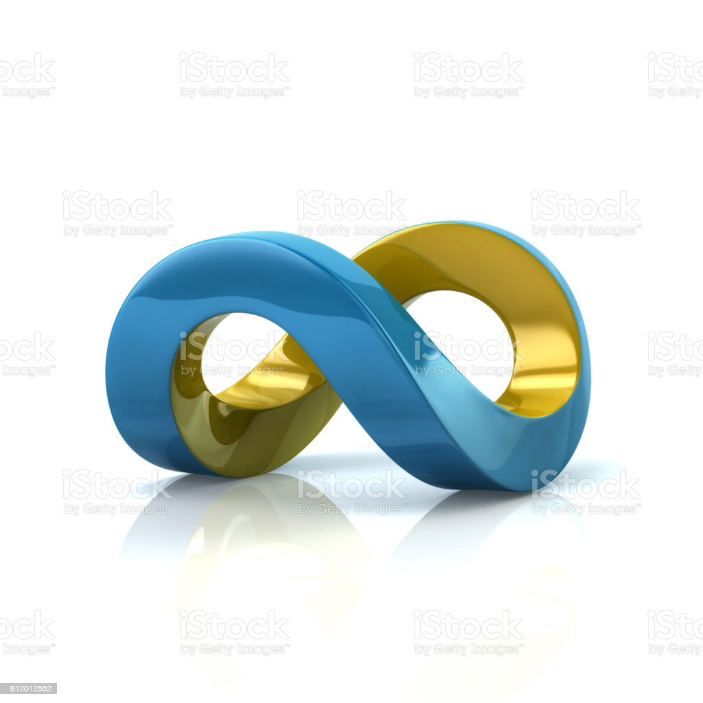 Blue and yellow infinity symbol stock photo