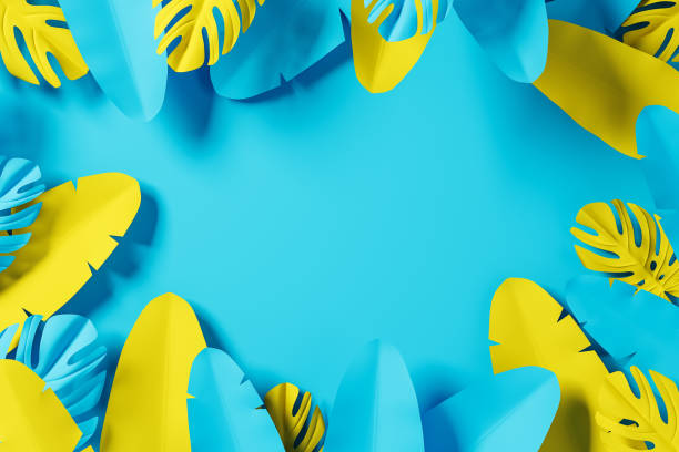 Blue and yellow leaves background stock photo