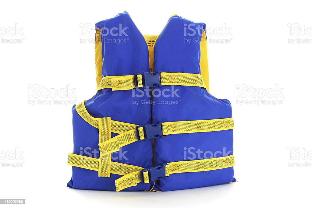 Blue and Yellow Life Jacket royalty-free stock photo