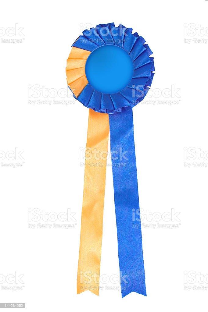 Blue and yellow ribbon rosette stock photo