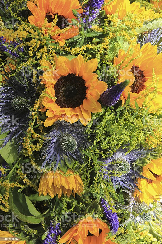 Blue And Yellow Sunflower Arrangement Wedding Decorations Stock