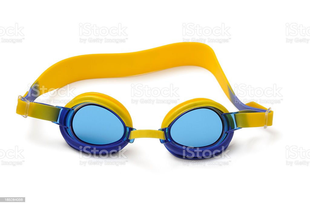 Blue and yellow swimming goggles stock photo