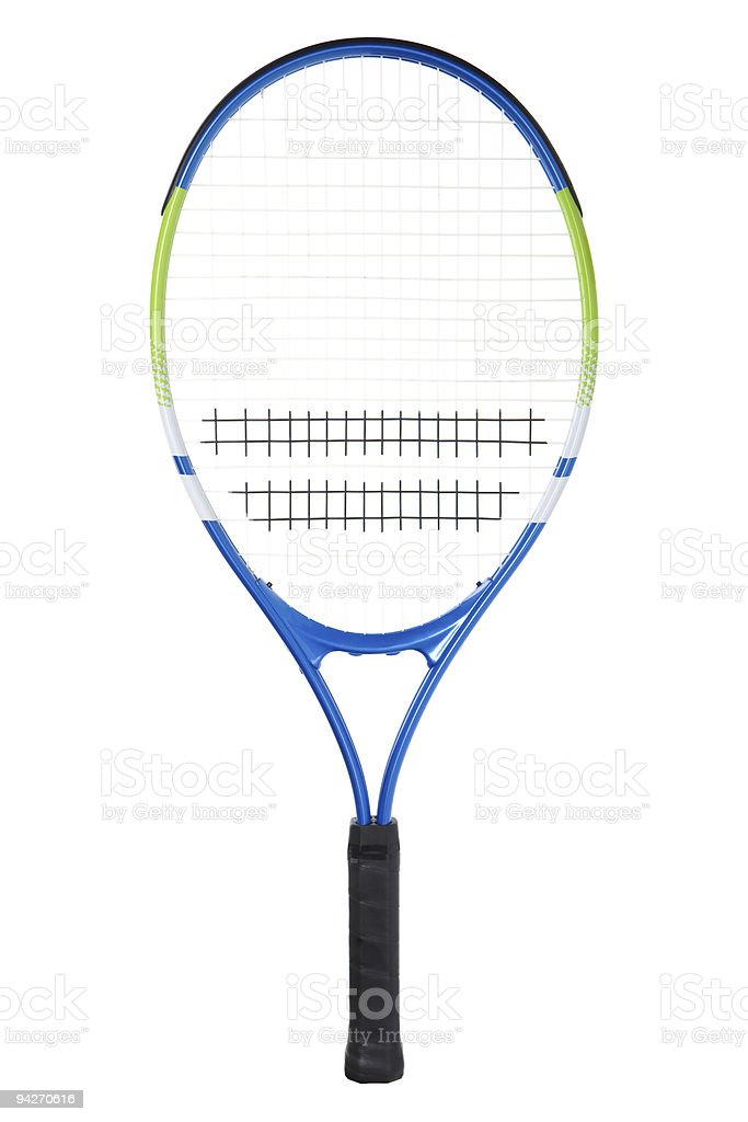 Blue and yellow tennis racket with black handle stock photo