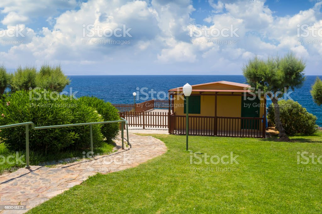 Blue and yellow, the combination for traditional Mediterranean architecture royalty-free stock photo