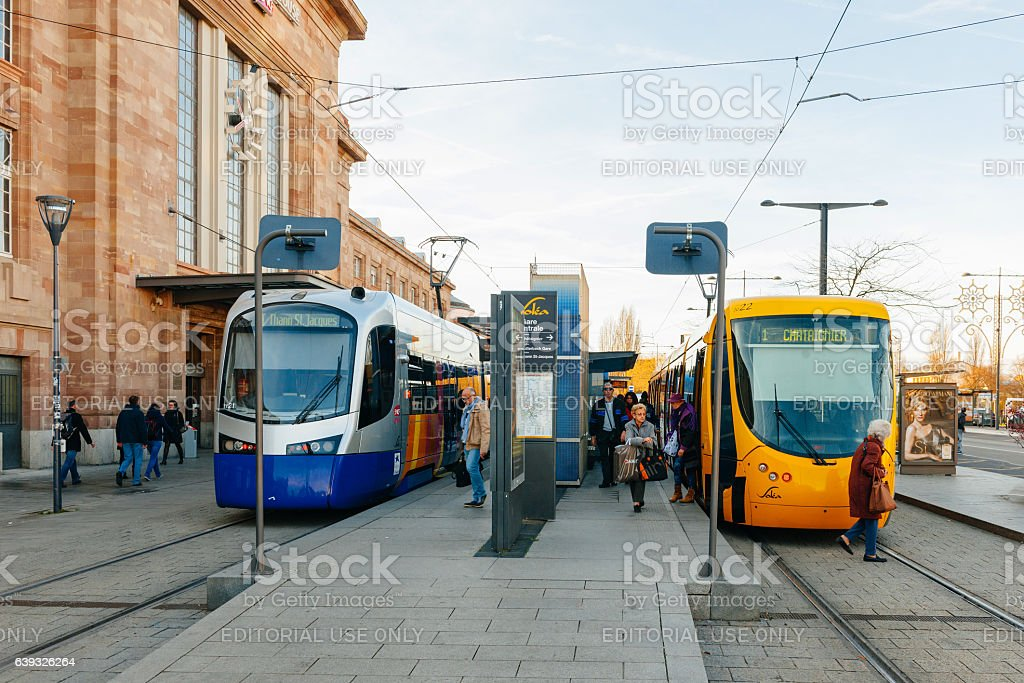 Blue and Yellow tramway in France stock photo