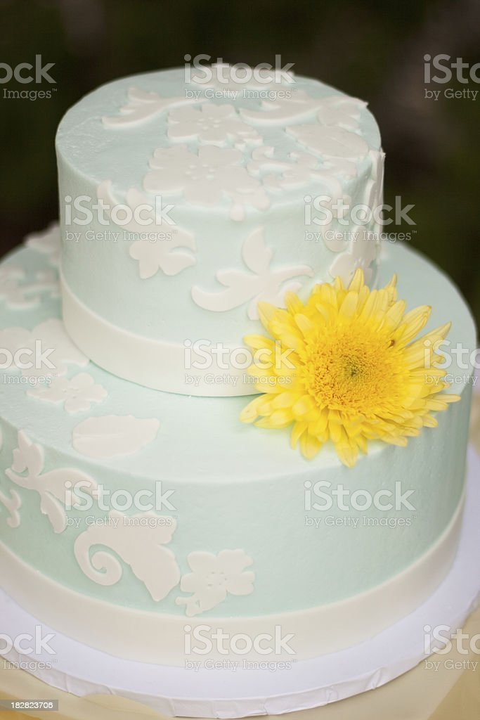 Blue And Yellow Wedding Cake Stock Photo & More Pictures of Baking ...