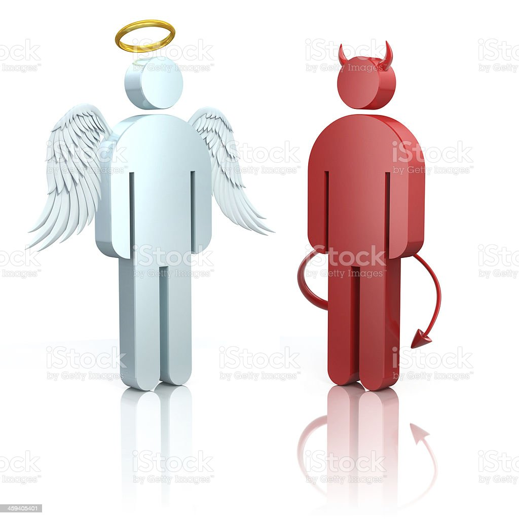 A blue angel and red devil 3D design on a reflective surface stock photo