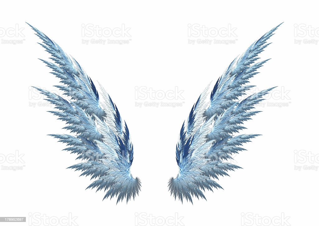 Blue angel wings white background royalty-free stock photo