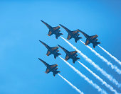 Wantagh, New York, USA - May 25, 2014: The Blue Angels fly all six F/A-18 Hornet Aircraft in the Delta Formation at the 11th Annual Jones Beach Air Show Sponsored by the Bethpage Federal Credit Union.