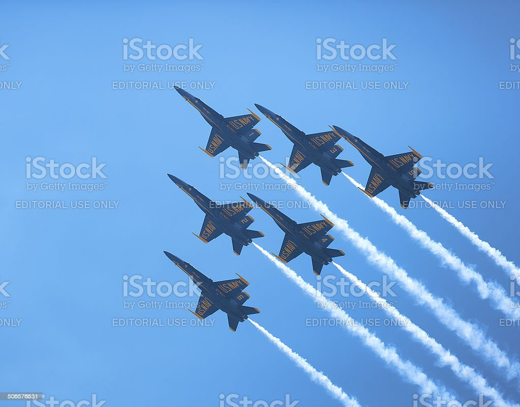 Blue Angels Delta Formation stock photo