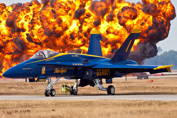 blue angels f-18 hornet - sonic boom stock photos and pictures