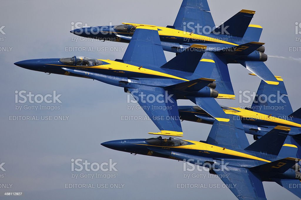 US NAVY Blue Angels flying formation Diamond royalty-free stock photo