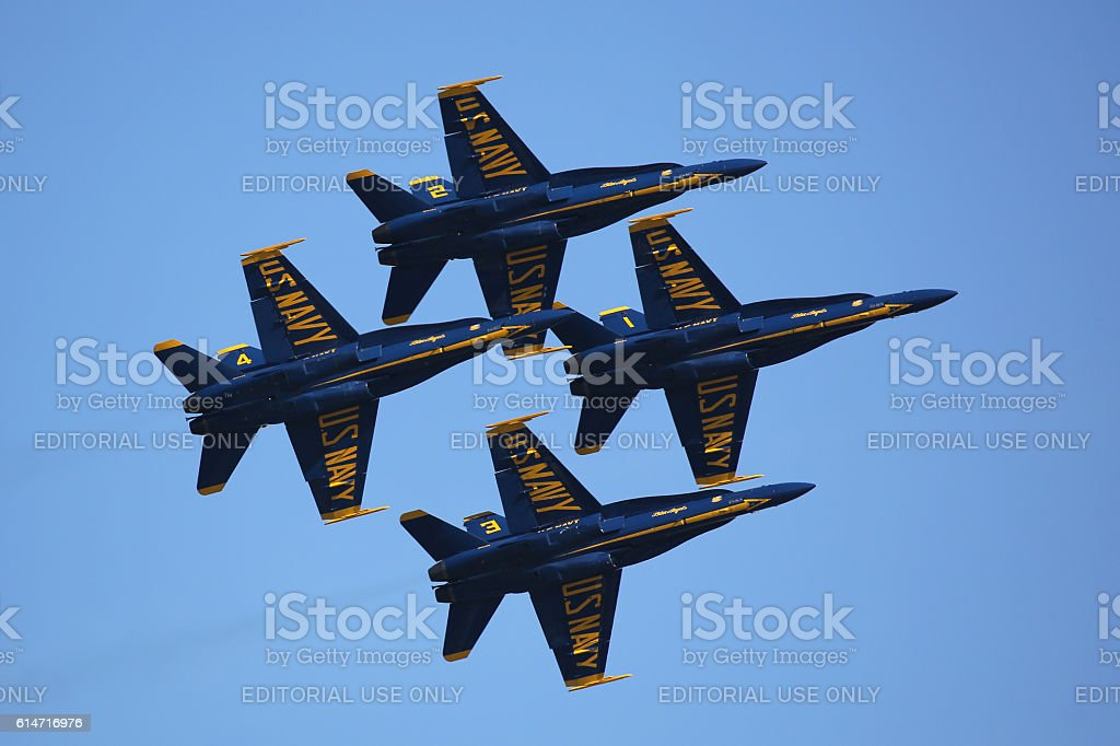 Blue Angels in Diamond Formation stock photo
