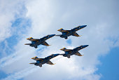 Wantagh, New York, USA - May 25, 2014: The Blue Angels fly four F/A-18 Hornet Aircraft at the 11th Annual Jones Beach Air Show Sponsored by the Bethpage Federal Credit Union.