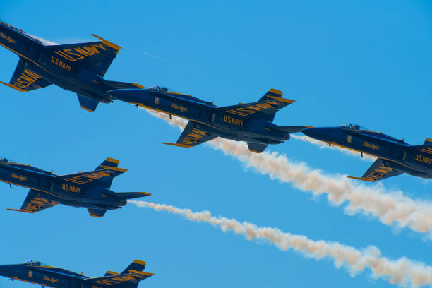 blue angels navy fighter jets performing aerial stunts - sonic boom stock photos and pictures