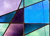 Detail of a stained glass church window