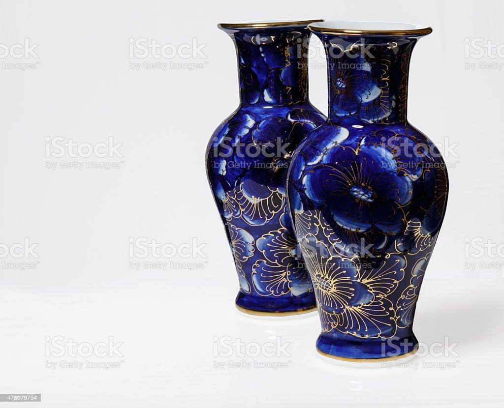 Blue Antique Asian Vases stock photo