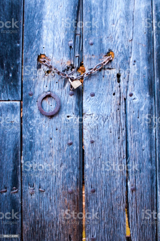 Blue antique door royalty-free stock photo