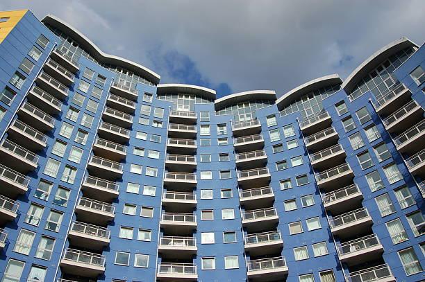 Blue Apartment block stock photo
