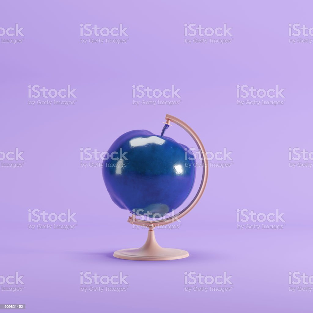 blue Apple global idea concept on magenta color pastel background. minimal idea concept. stock photo