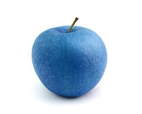 Blue apple isolated over white background