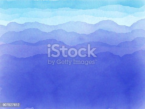 istock Blue aqua and white watercolor waves 907527612