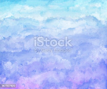 istock Blue aqua and white watercolor waves 907527620
