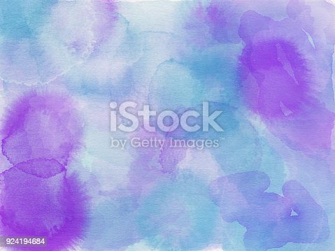 852187968 istock photo Blue aqua pink purple and white abstract watercolor painting 924194684