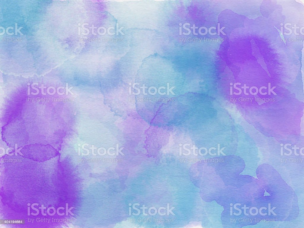 Blue aqua pink purple and white abstract watercolor painting stock photo