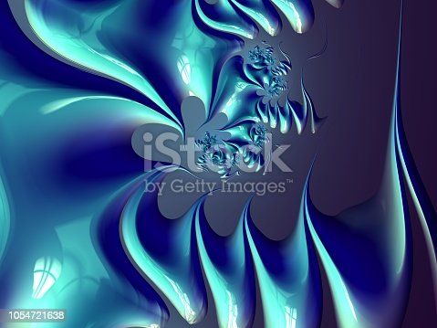 682471362 istock photo Blue, Aqua, Teal and black Swirl Fractal 1054721638