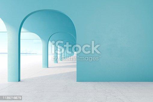 istock Blue architectural corridor with empty wall, concrete floor, horizon line. 3d render illustration mock up 1139216679