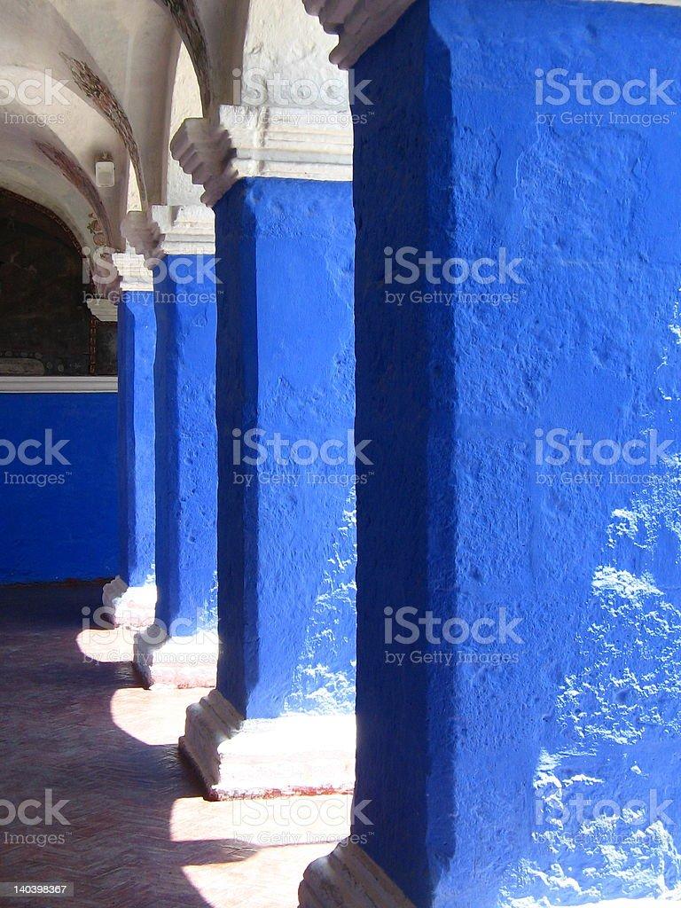 blue archways stock photo