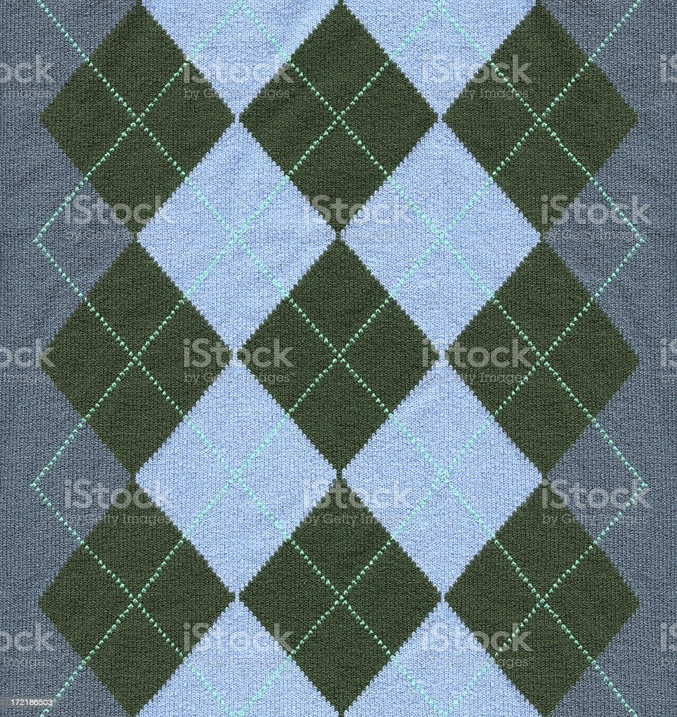 Blue argyle pattern fabric stock photo