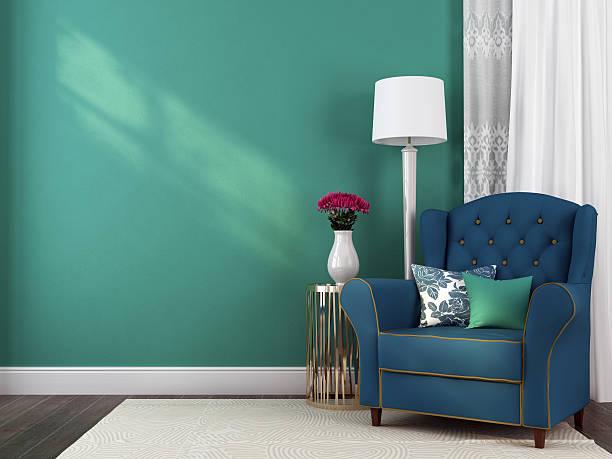 blauen sessel und dekorationen - sessel türkis stock-fotos und bilder