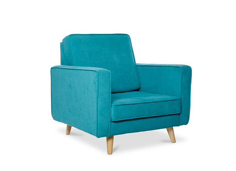blue armchair isolated on a white background