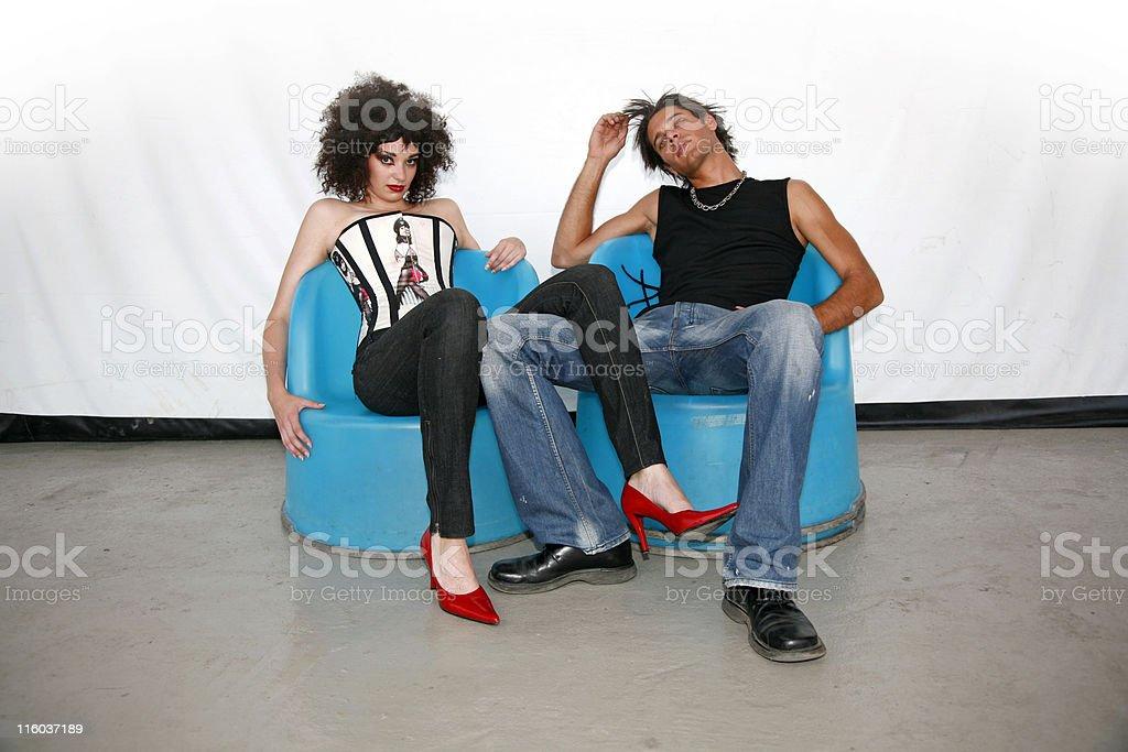 Blue armchair laziness royalty-free stock photo