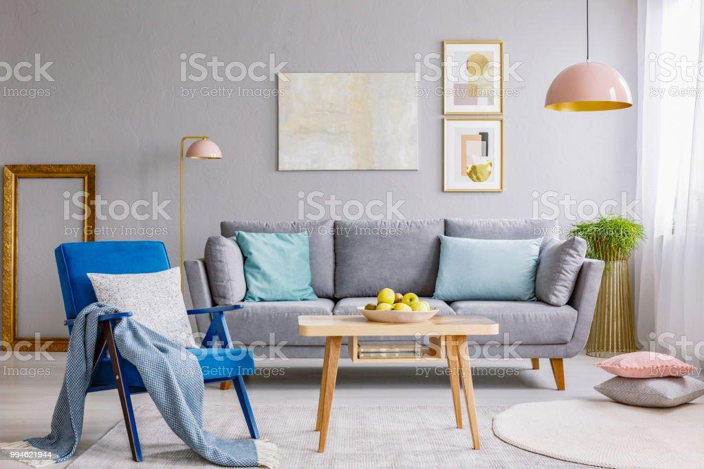 Blauer Sessel Mit Kissen Und Decke Stehen Auf Dem Teppich In Grau ...