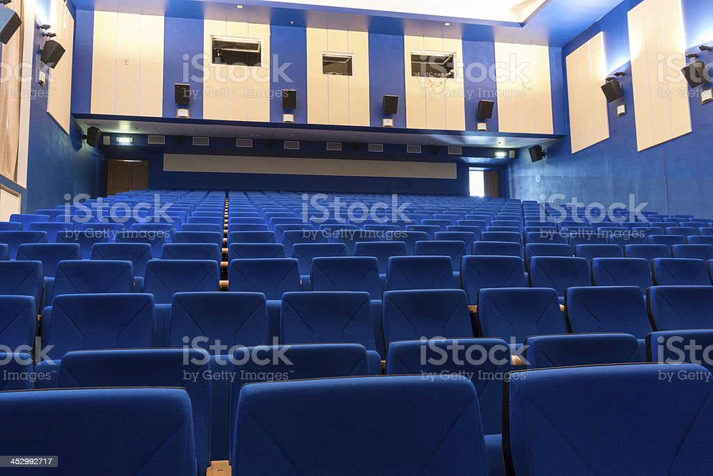 Blue arm-chairs in cinema stock photo
