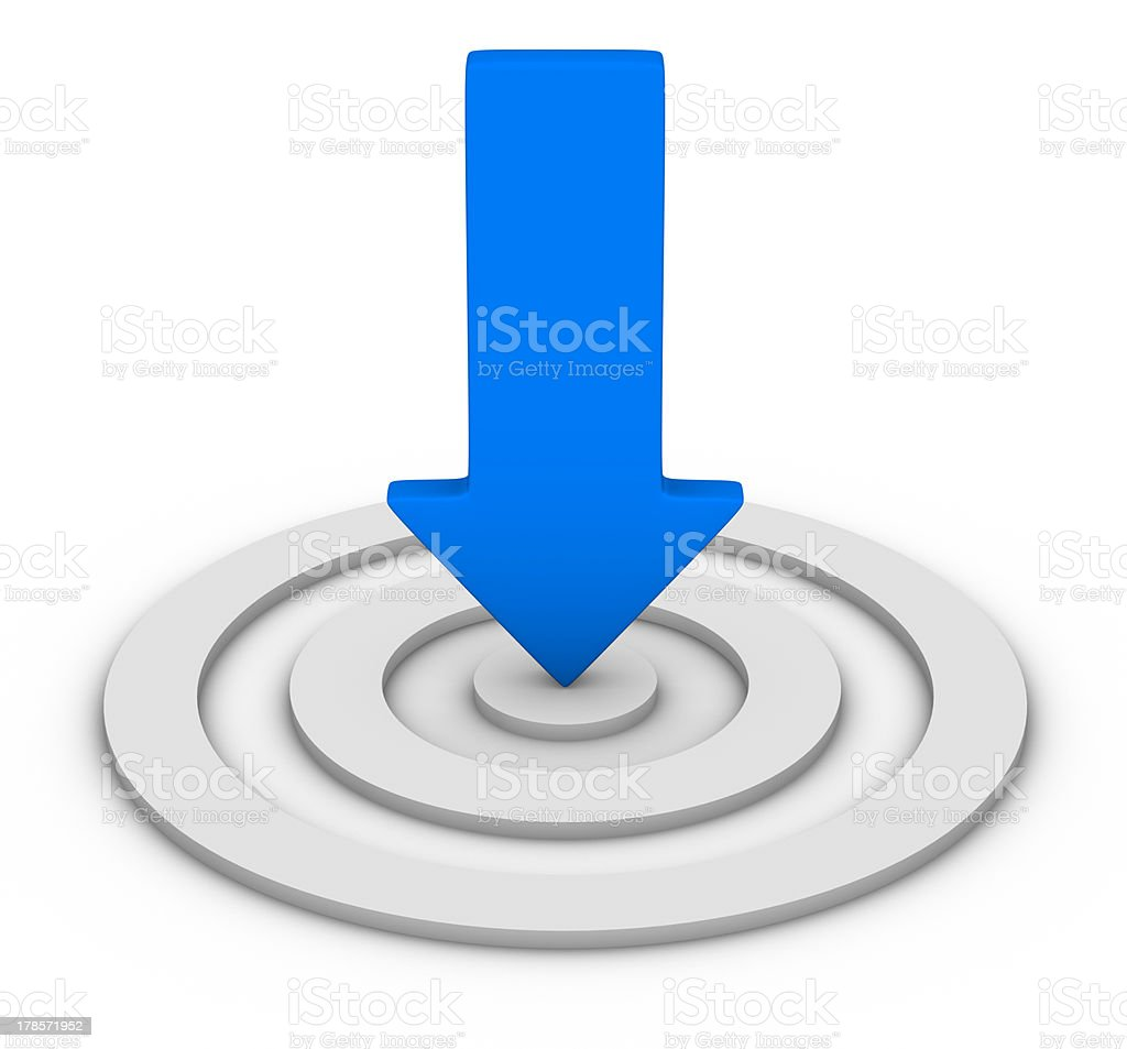 blue arrow and white target stock photo