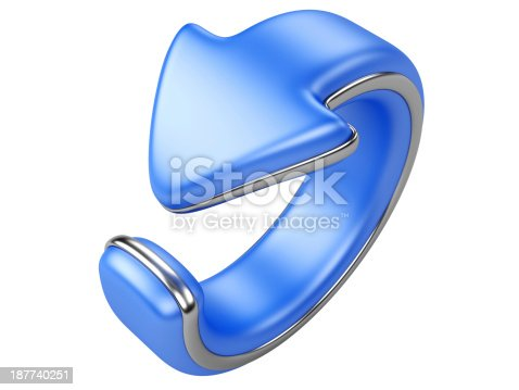 istock blue arrow bend in a ring. direction back 187740251