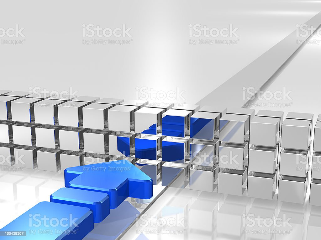 Blue arrow is hampered by obstacles. royalty-free stock photo