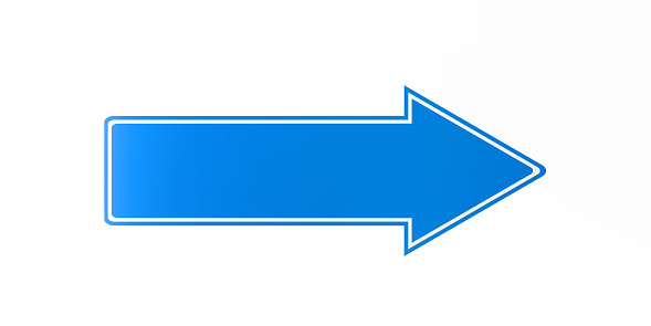 istock Blue Arrow Shaped Direction Sign On White Background 922038696
