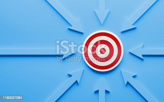 istock Blue Arrows Pointing A Red Target 1160037084