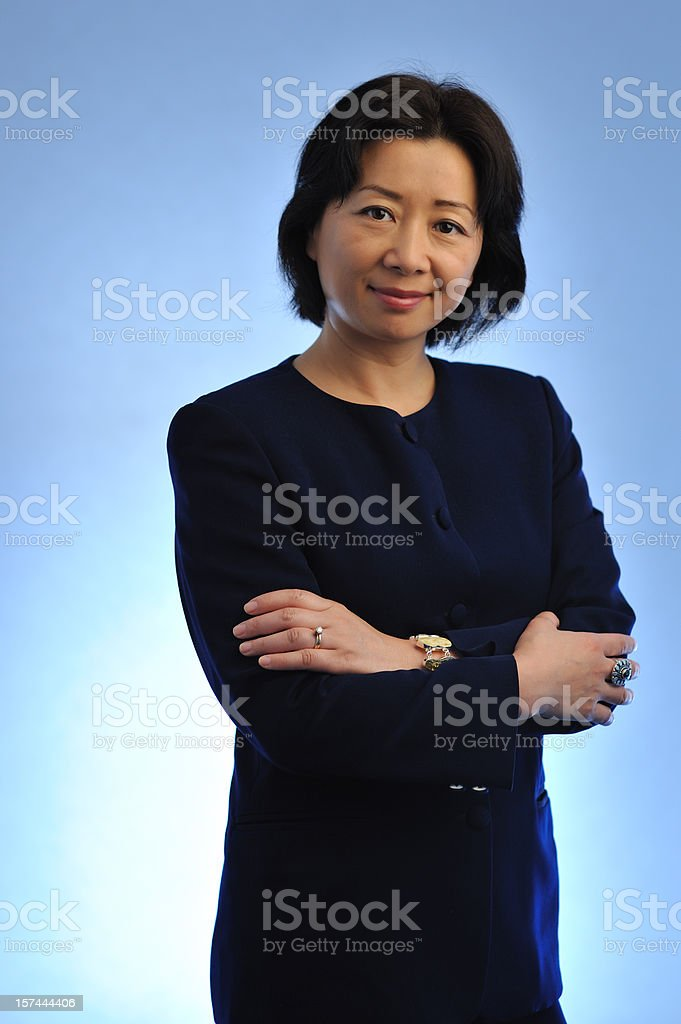 Blue Asian businesswoman royalty-free stock photo