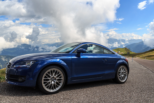 Blue Audi Tt At The Mountain Pass Jaufenpass Alps Stock Photo - Download Image Now