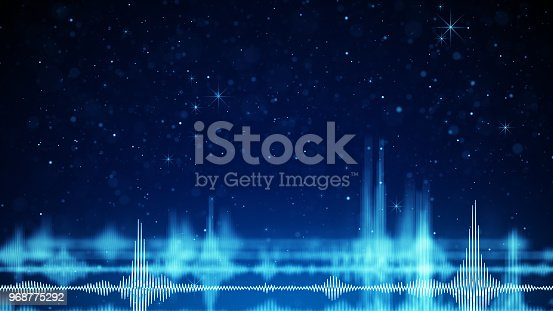 istock Blue audio wave form and sparkles 968775292